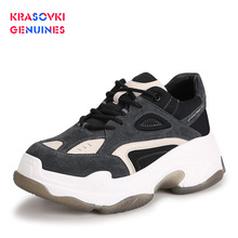 Krasovki Genuines Sneakers Women Fashion Autumn Dropshipping Round Toe Mixed Colors Cross Tied Breathable Leisure Women Shoes цены