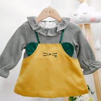 Fake two pieces Princess dress 2019 Autumn New Girls Vintage Sweet Cute Plaid Spliced Dress Modis Kids Clothes Vestidos Y1888