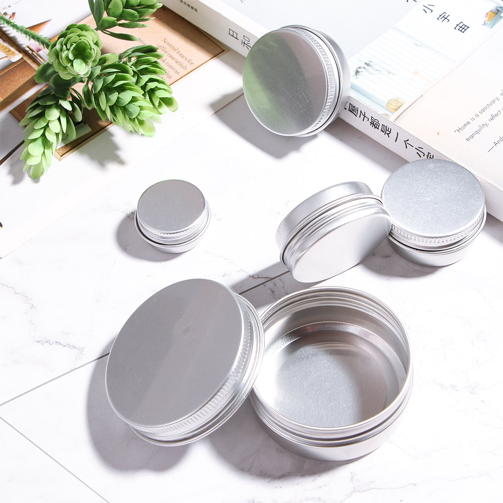 Small Tin Box Mini Metal Box Storage Pot Plain Refillable Bottle Container Screw Top Cosmetic Cream Storage Jars 5/10/15/30/50ml