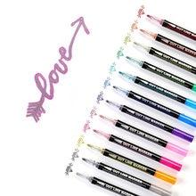 Перманентные металлические маркеры 12 линейной краски для подарочной