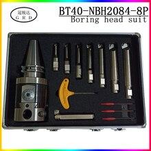Juego de herramientas de perforación NBH2084, cabezal de taladrado fino, soporte para herramientas BT40 + 8 Uds., barra de perforación de 20mm, 8 280mm