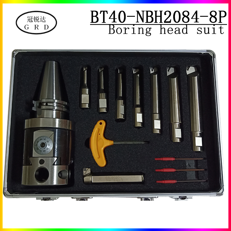 Boring-tool-suit NBH2084 Fine Boring Head  BT40 Tool Holder + 8pcs 20mm Boring Bar Boring Rang 8-280mm Boring Tool Set