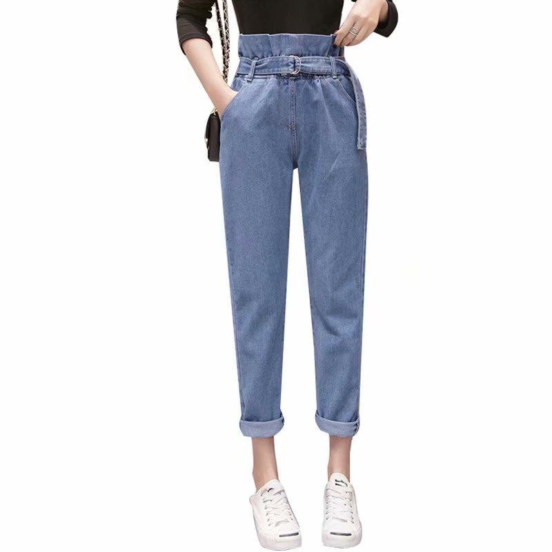 Women Pants Summer Jeans Woman Loose Haren Pants Loose Mid Waist Wide Leg Ankle Length Ankle-Length Fitness Harem Denim Pants