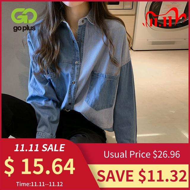 GOPLUS Womens Shirt Blue Blouse Clothing for Women Tops 2020 Turn Down Collar Patchwork Denim Blouses Shirts Haut Chemise Femme