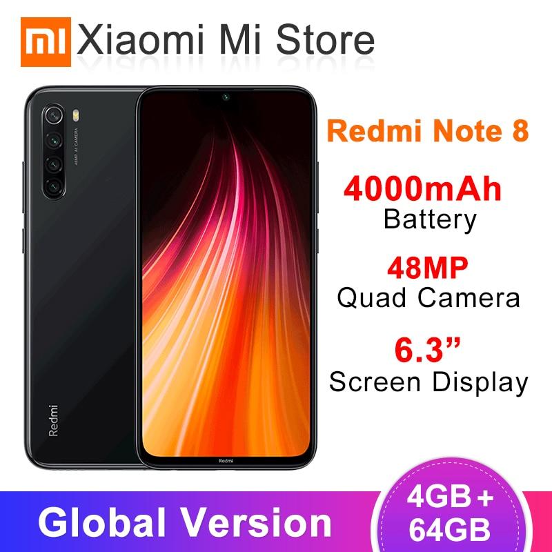 Global Version Xiaomi Redmi Note 8 4GB RAM 64GB ROM 48MP Rear Quad Camera Mobile Phone Snapdragon 665 Octa Core 6.3