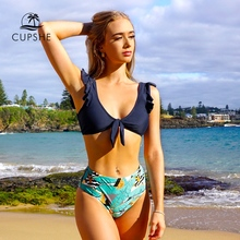 CUPSHE granatowy i liściasty drukuj wiązane potargane zestawy bikini Sexy usztywniony kostium kąpielowy strój kąpielowy dwuczęściowy kobiety 2020 plaża kostiumy kąpielowe