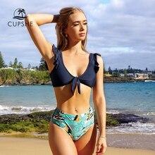 Cupshe marinha e impressão frondosa atada babados conjuntos de biquíni sexy acolchoado maiô duas peças banho feminino 2020 praia fatos de banho
