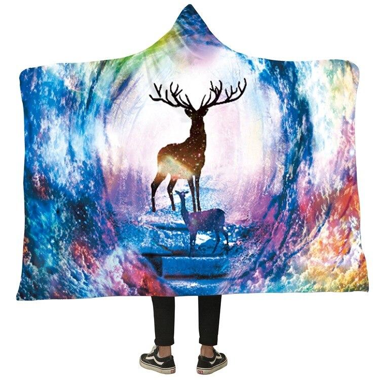 Winter Blanket Sweatshirt Unicorn Cartoon 3D Printed Plush Hooded Blanket for Adults Kid Warm Wearable Fleece Throw Blankets 20