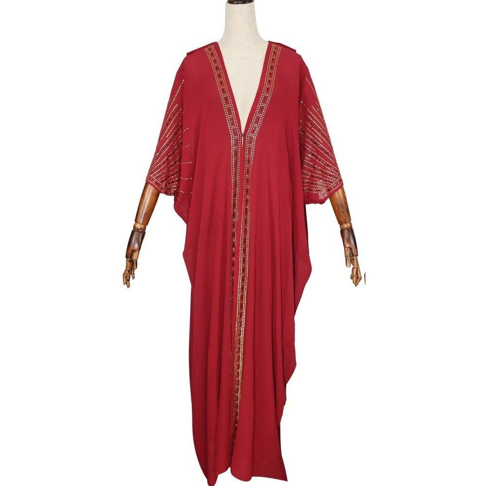 Длина 140 см, красная африканская одежда, африканские платья для женщин, мусульманское длинное платье, высокое качество, длина, модное Африканское платье для леди - Цвет: Красный