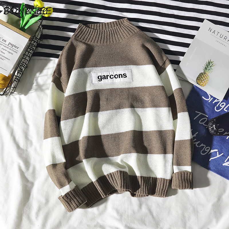 Sweaters Men Striped Leisure Simple All-match Japanese Style Daily Trendy Turtleneck Soft Warm Retro Sweater Mens Pullover Chic