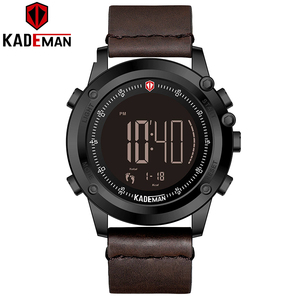 Image 2 - K698 kademan スポーツメンズ腕時計ステップカウンター革トップ高級ブランドの led メンズミリタリー腕時計レロジオデジタル防水