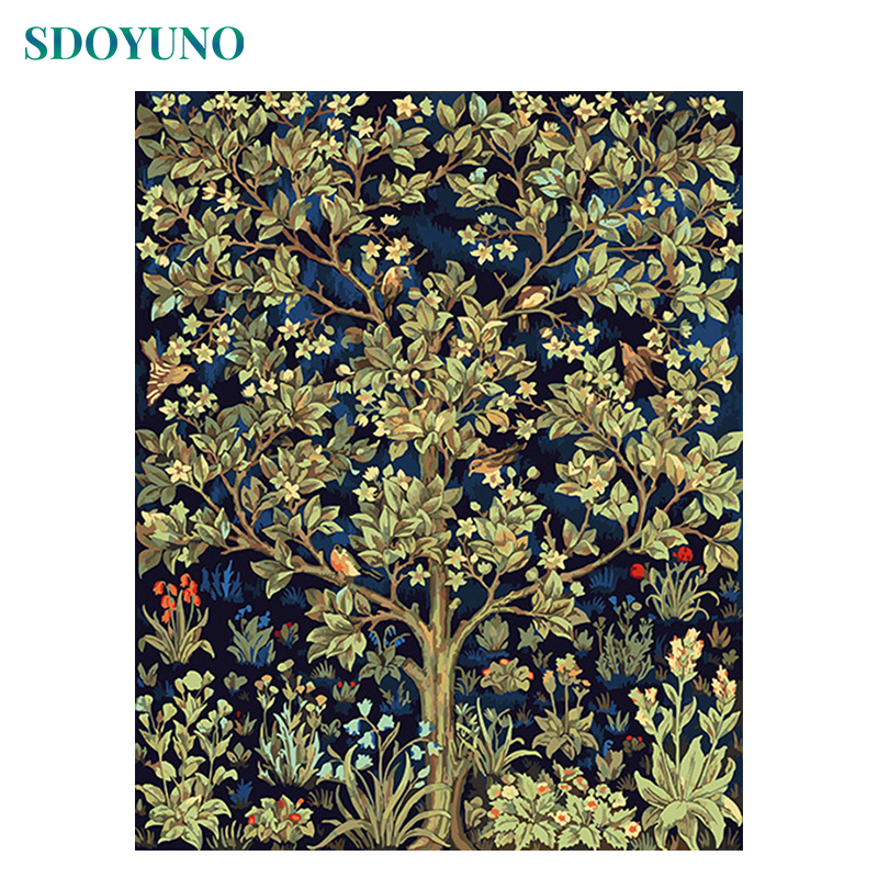 SDOYUNO 60X75cm Paint By Numbers On Canvas Happiness Tree DIY Home Decor Frameless Digital Painting  Oil Painting By Numbers