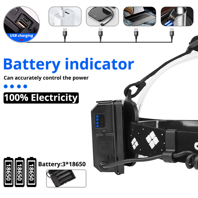 Купить powerful 8000lm xhp902 led headlamp usb rechargeable headlight картинки