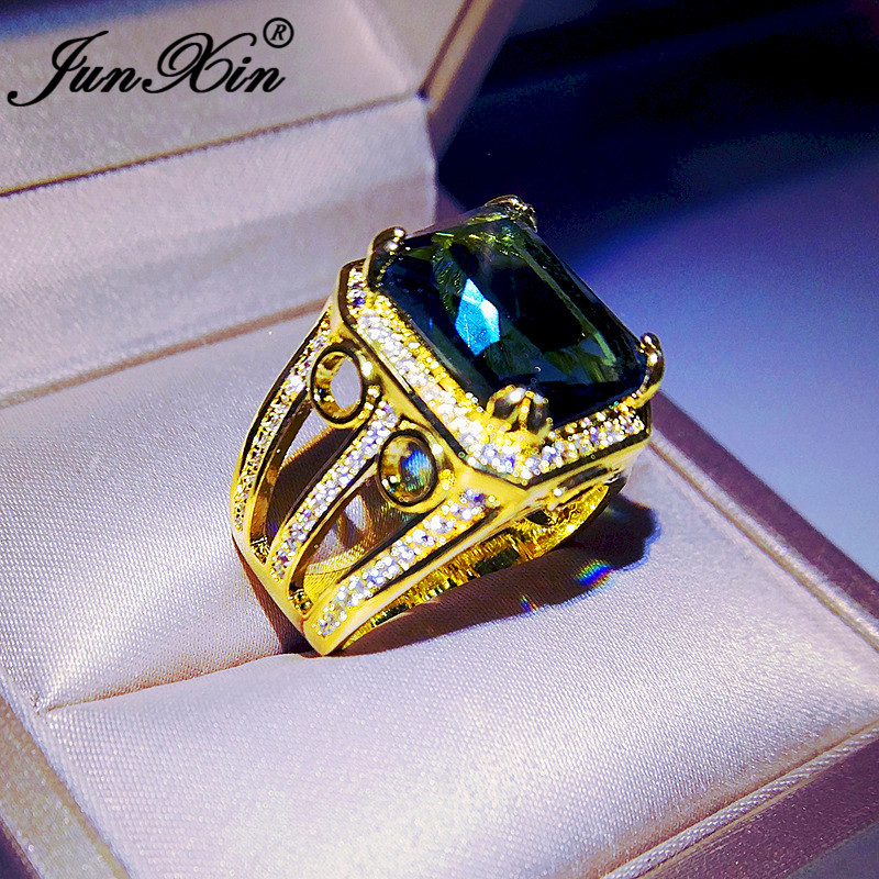 Big Stone Rings for Women Square Blue Rhinestones Crystal Gold Engagement Jewel
