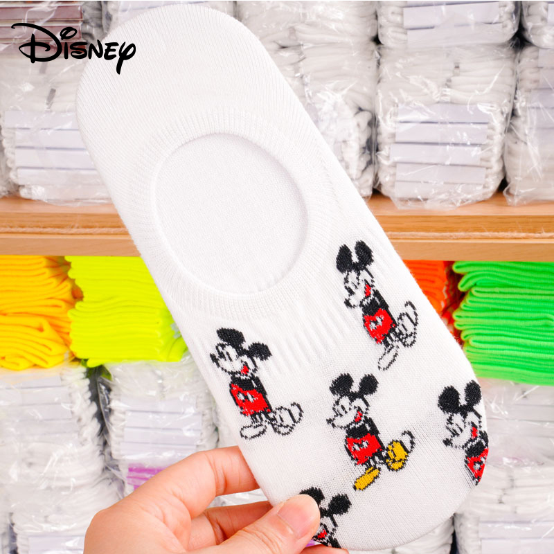 Disney Ladies Socks Cartoon Sweet Mickey Mouse Pattern Cotton Socks Female Models Large Size Casual Socks