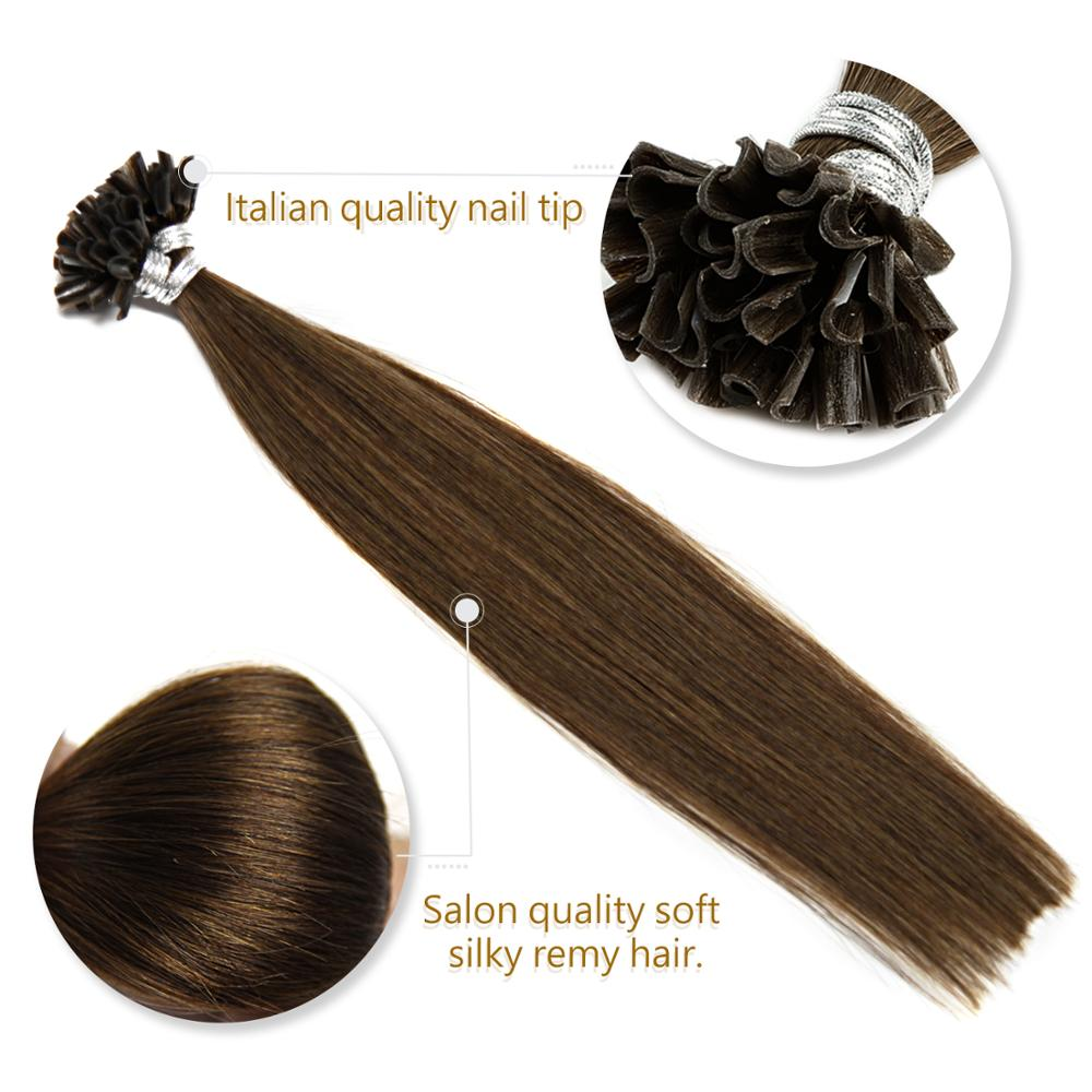"""Neitsi Straight Keratin Capsules Human Fusion Hair Nail U Tip Machine Made Remy Pre Bonded Hair Extension 16"""" 20"""" 24"""" 1g/s 50g 3"""