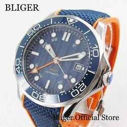 Męski zegarek marki BLIGER z automatycznym ruchem GMT okno daty szafirowe szkło w Zegarki mechaniczne od Zegarki na