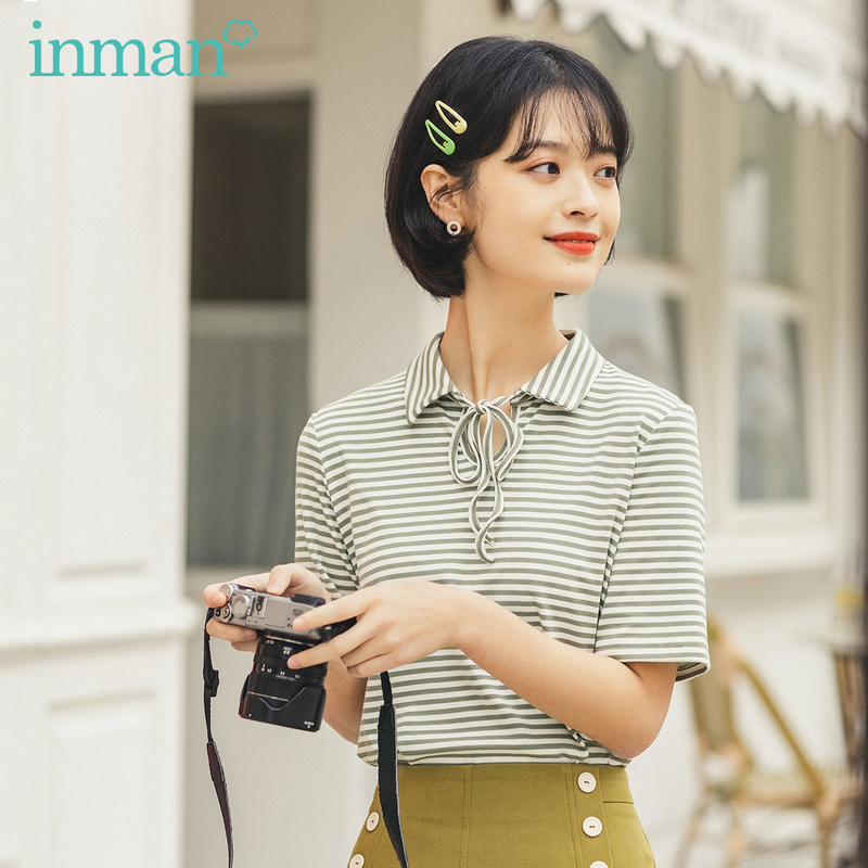 INMAN 2020 Summer New Arriavl Retro Literary Lace-up Lapel Stripe Short Sleeve T-shirt