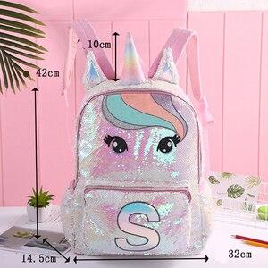 Image 4 - Cekiny jednorożec torby szkolne o dużej pojemności jednorożec plecaki dla dziewcząt różowy Mochila Escolar plecak dla dzieci torby szkolne dla dzieci