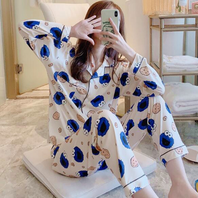 Fdfklak Women Pajamas Set Spring Autumn New Thin Cartoon Printed Long Sleeve Cute Sleepwear Casual Homewear Female Pyjamas