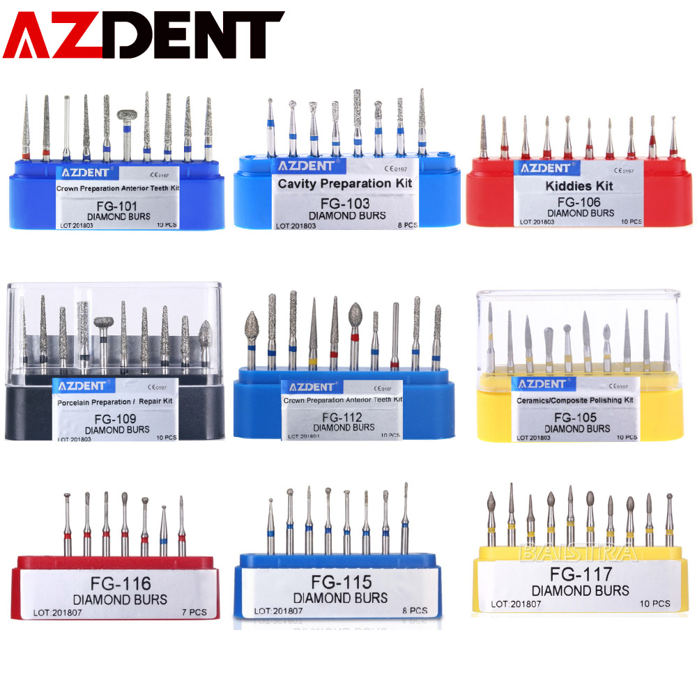 AZDENT  Dental Diamond Burs Drills High Speed Handpiece Polishing Whitening Tools Dental Burs For Teeth Whitening