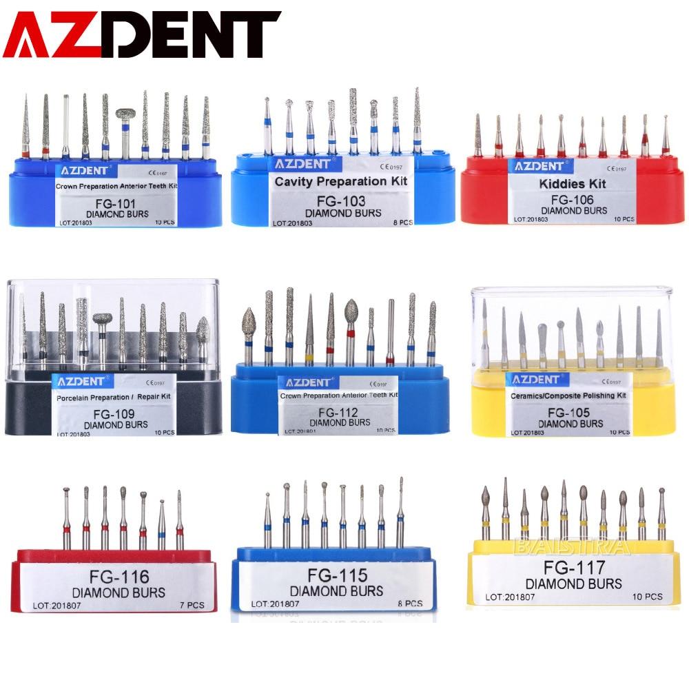 AZDENT  Dental Diamond Burs Drills High Speed Handpiece Polishing Whitening Tools Dental Burs For Teeth Whitening