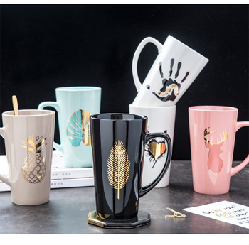 500ML Couple Cup Ceramic Coffee Mug With spoon an Cover Creative Valentine's Day Wedding Birthday Gift coffee cups 1