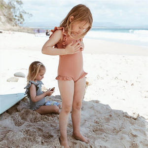 Toddler Baby Girl One Piece Swimwear Swimsuit Kids Baby Girl Swimwear Bathing Suit Ruffle Backless Monokini Romper Body suit(China)