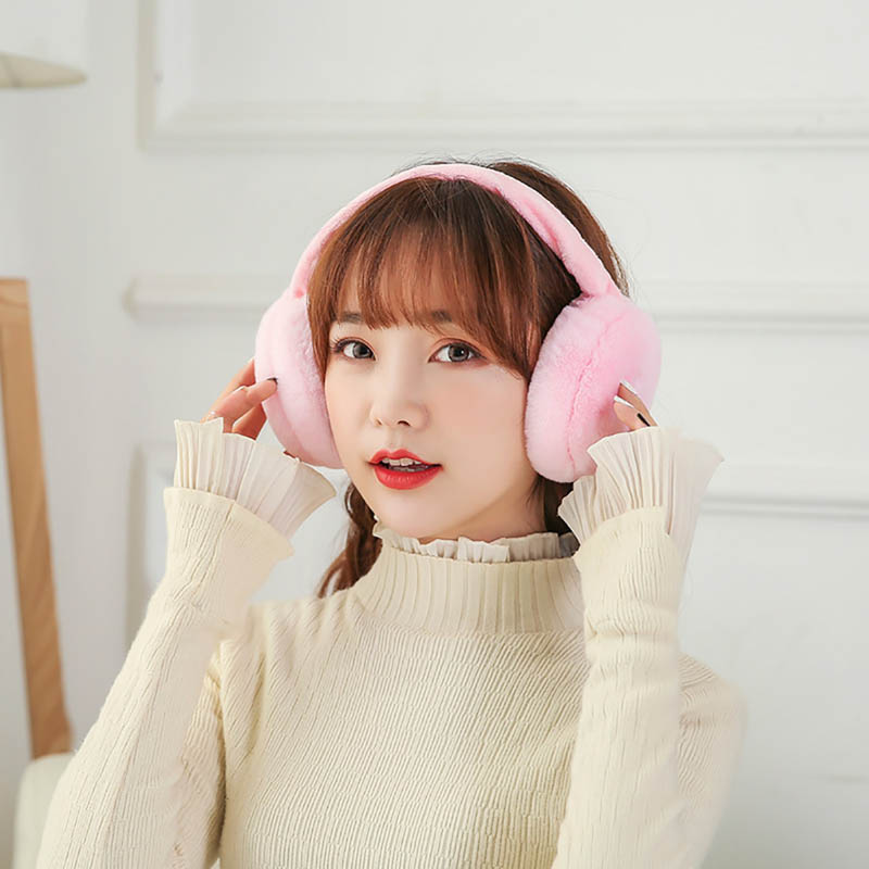 Calymel Foldable Winter Ear Warmer Faux Fur Earmuffs Women Headband Earlap Cycling Skiing Outdoor Warm Earmuff Gifts