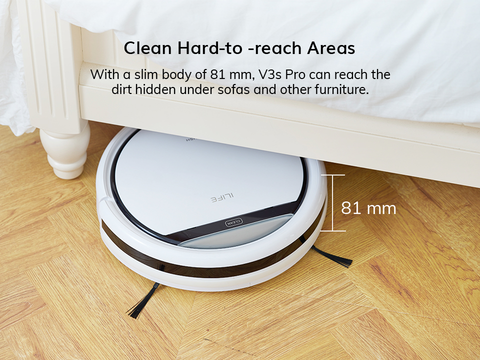 H8187723bcffe4889ac229757f7a4ed5aq ILIFE V3s Pro Robot Vacuum Cleaner Home Household Professional Sweeping Machine for Pet hair Anti Collision Automatic Recharge