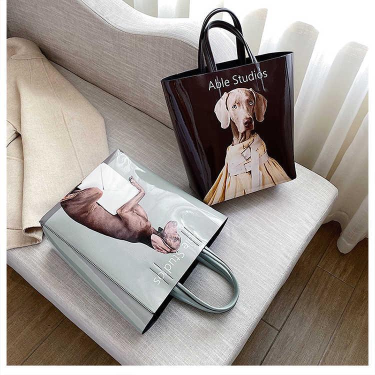 Desain Baru Anak Anjing Pola PU Kulit Besar Kapasitas Fashion Wanita Tas Tangan Tas Bahu Tas Wanita Tas Kurir Selempang