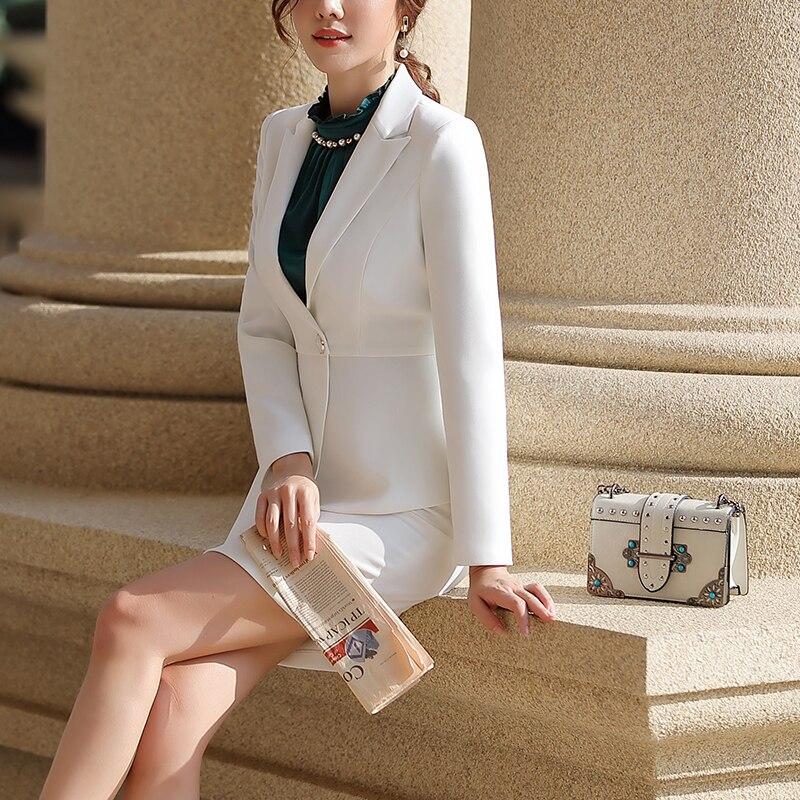 SUSIELADY Women Work Suit Long Sleeve Blazer Jacket & Skirt One Button Office Wear Women Suits Fashion Blazer Femme