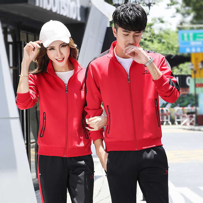 MEN'S Sport Suit Spring Stand Collar Couples Sports Clothing Long Sleeve Casual Sweatshirt Women's Large Size Cardigan Sports Cl