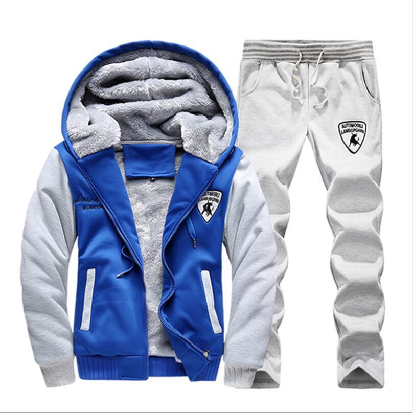 2019 nouveau LJ64 hommes Set mode hiver survêtements épais polaire doublé Hoodies sweat + pantalon survêtement hommes Sportswear
