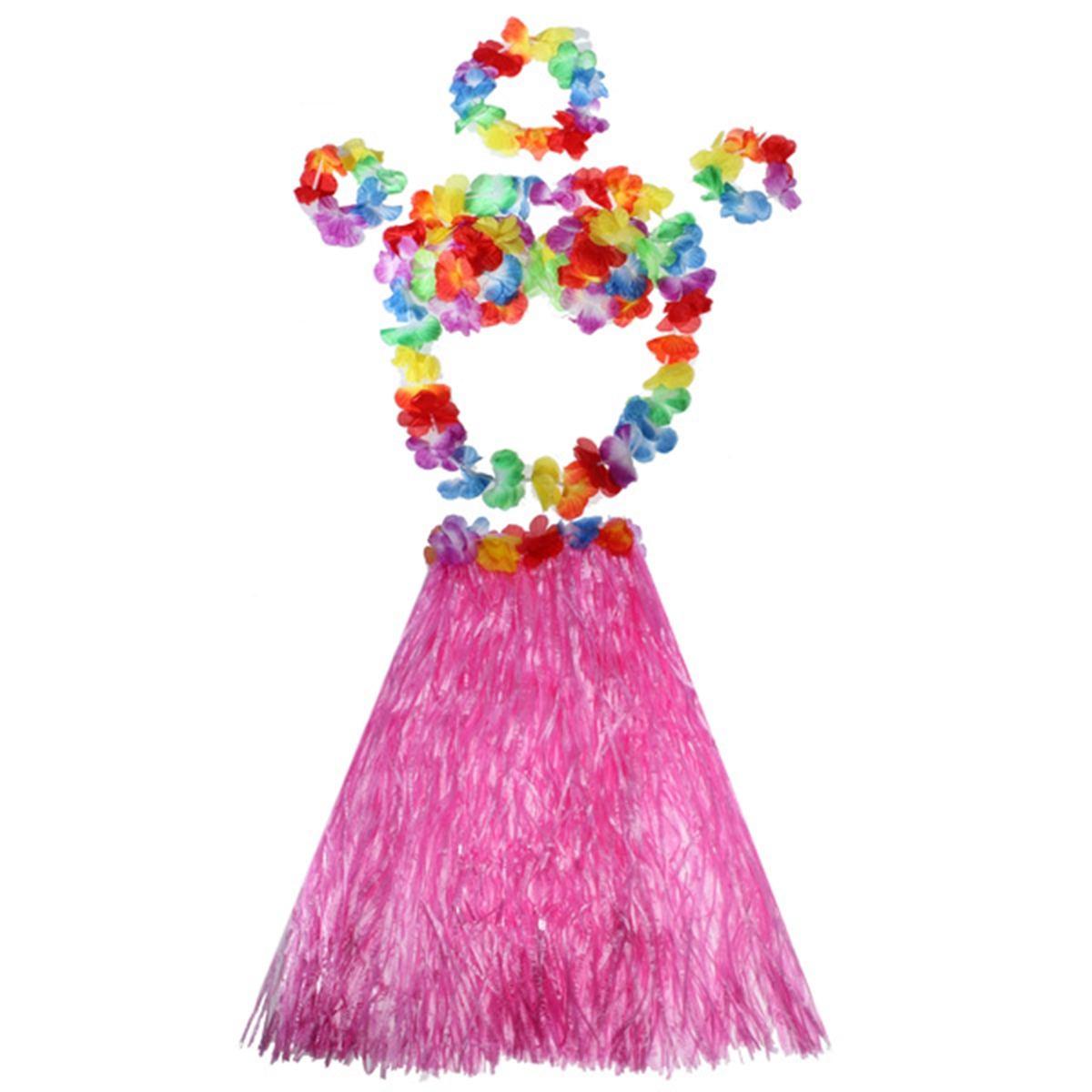 6 unids/set niños niña hawaiana hierba Hula falda pulsera con flores disfraz de guirnalda fibras plásticas mujeres faldas de hierba suministros de fiesta