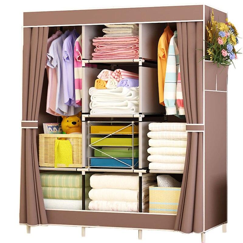 Clothes Closet Portable Wardrobe Durable Clothes Storage Organizer Non-woven Fabric Cloth Storage Shelf  170cm*125cm*45cm