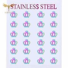 Charming Colorful Earrings Crown Stud Earring for Girls Women Earrings Jewelry Wholesale boucles d oreille femme 2020 tendance