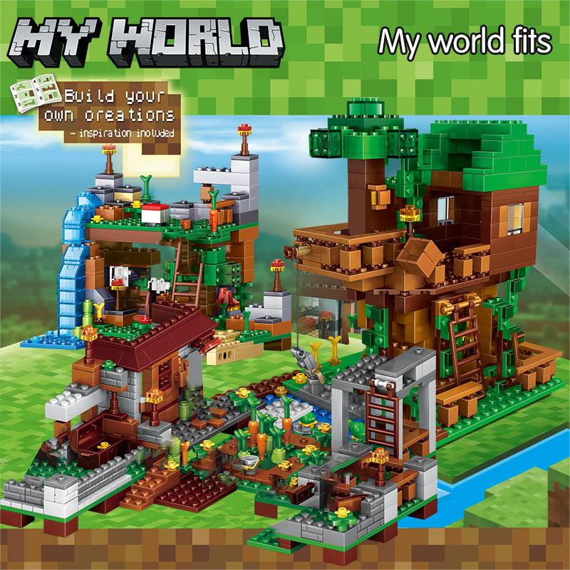US $25.8 20% OFF|1208PCS My World Building Blocks Compatible Village Tree House Waterfall Bricks Kids Toys for Christmas on AliExpress