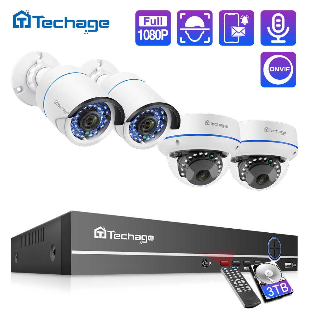 Techage 4CH 1080P HDMI POE NVR zestaw bezpieczeństwa System CCTV 2MP ir-cut kryty odkryty CCTV kamera IP kopułkowa P2P nadzoru wideo zestaw