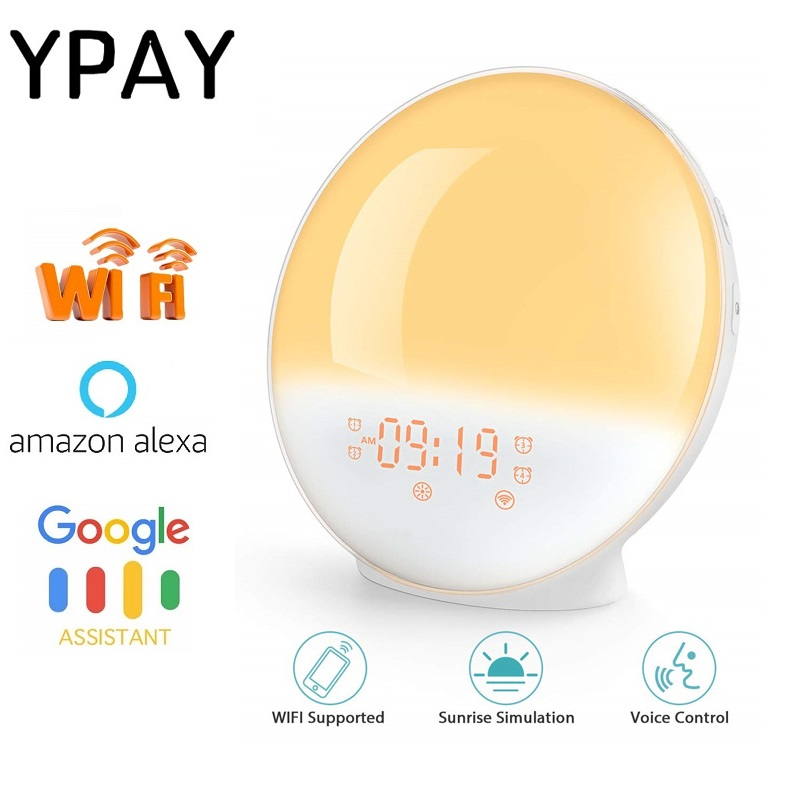 YPAY WIFI FM Radio Sunrise Light Alarm Clock Smart Wake Up LED Sunrise Light APP With Alexa/Google 7 Colors Sunrise Simulation