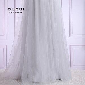 Image 4 - Vestido De noche largo De tul para mujer, De talla grande, con perlas, tirantes finos, OL103420, 2019