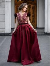 Винно красное элегантное платье для выпускного вечера с круглым