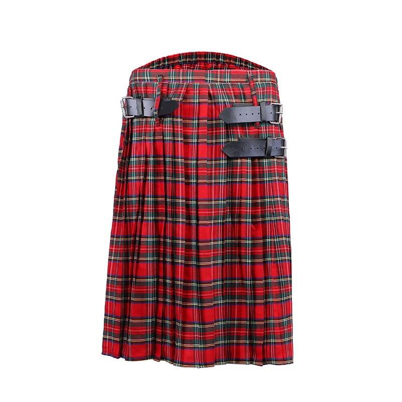 OEAK Scottish  Men Kilt Traditional Plaid Belt Pleated Chain Bilateral Brown Gothic Punk Scottish Plaid Pants Skirts 2019