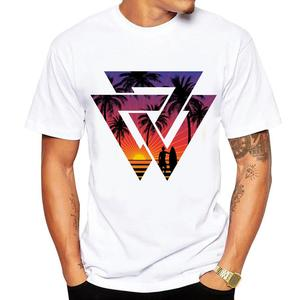 Men's T-shirt Geometric Sunset Beach print palm tree with cool shape T shirt men summer fashion brand short-sleeved Tops Tee