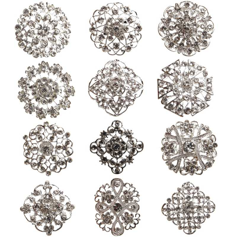 Broche Pin Rhinestone Crystal Zilveren Bloem Broches voor Wedding Bridal Party Ronde Boeket DIY Strass Accessoires Party