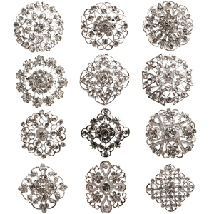 Brooch Pin Rhinestone Crystal Flower Brooches for Wedding Bridal Party Round Bouquet DIY Rhinestone Accessories Party