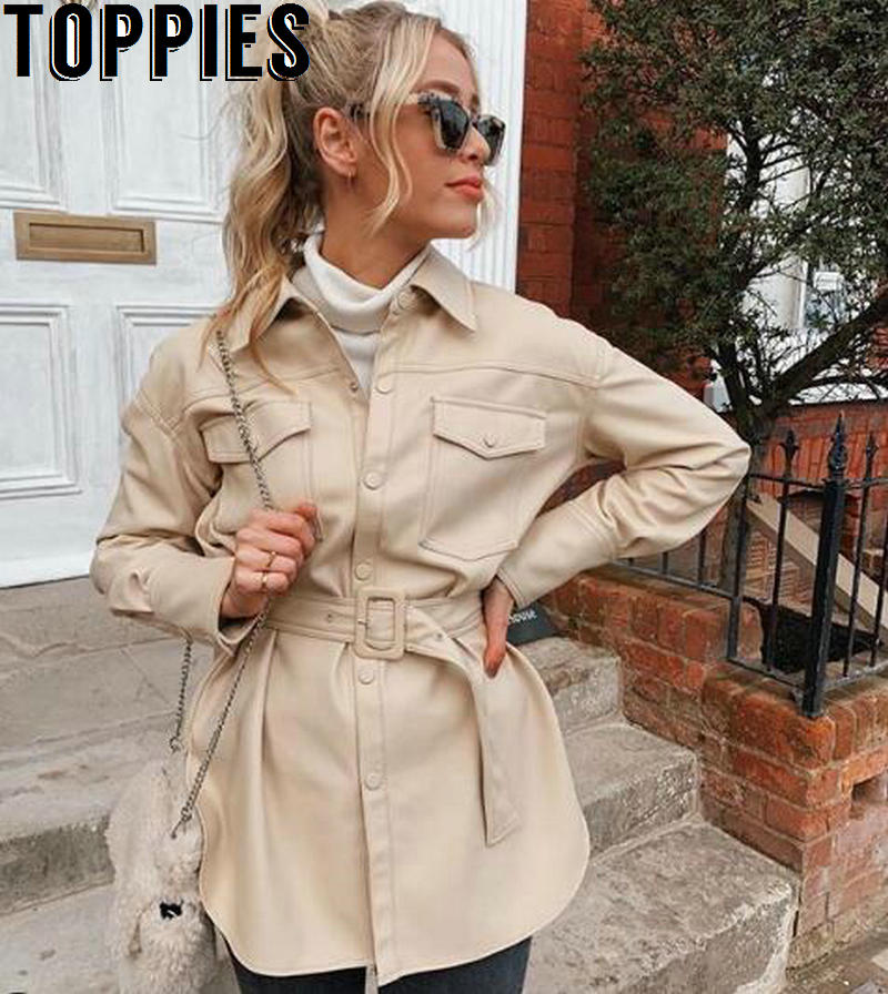 Faux Leather Shirt Jacket Women Long Jacket Coat 2020 Spring Oversized Windbreaker Woman Streetwear