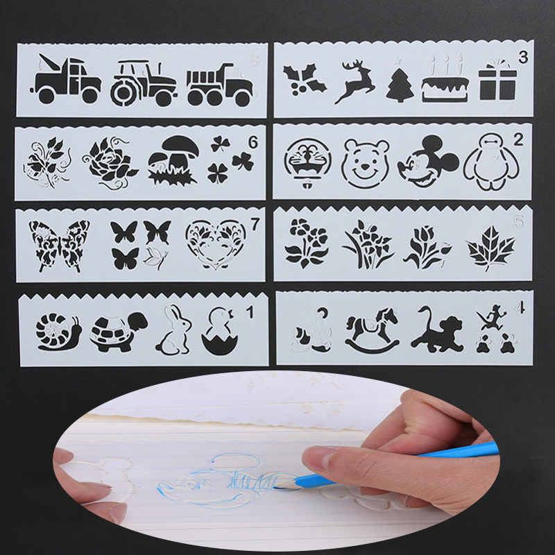 8pcs Plastic Children Painting Drawing Stencil Template Rulers Tool DIY Craft Mold Rulers Cartoon Hollow Flower Plate Kids Gifts
