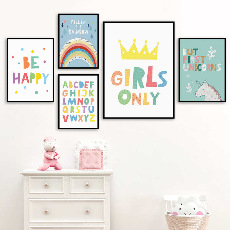 White Unicorn Poster Nursery Rainbow Wall Art Canvas Print Painting Nordic Style Children Bedroom Decoration Picture Home Decor