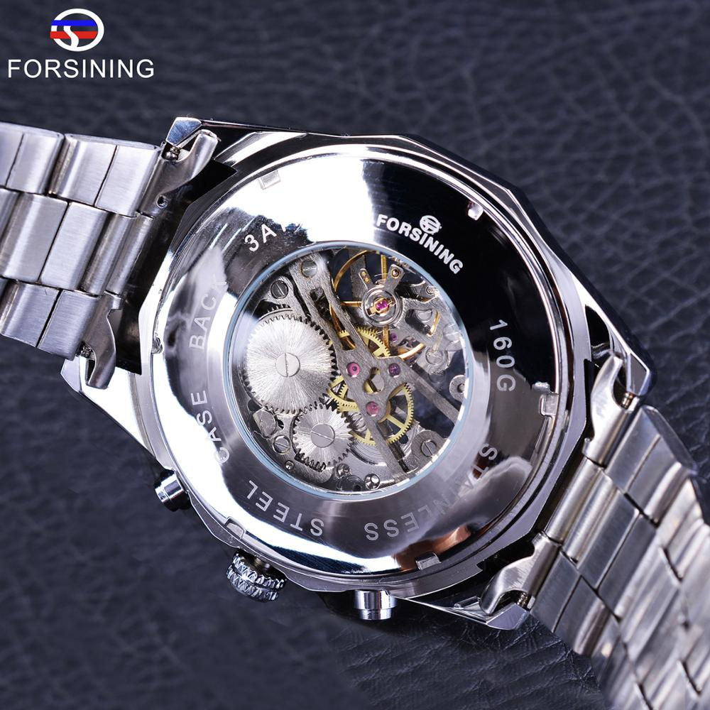 Watches ... Men's Watches ... 32822051169 ... 5 ... Forsining 2017 Silver Stainless Steel Waterproof Mens Skeleton Watches Top Brand Luxury Transparent Mechanical Male Wrist Watch ...